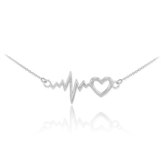 White Gold Plated Heartbeat Necklace