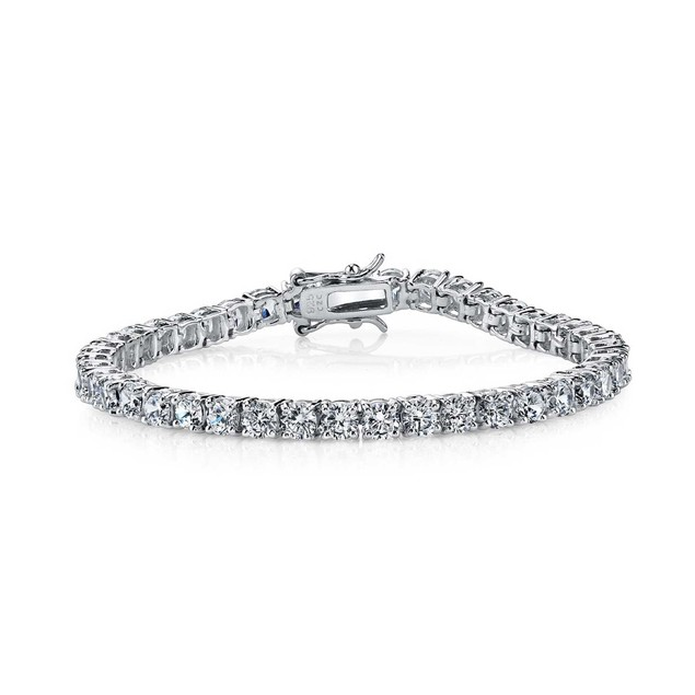 C.Z 3mm Sterling Silver Rhodium Plated Tennis Bracelet
