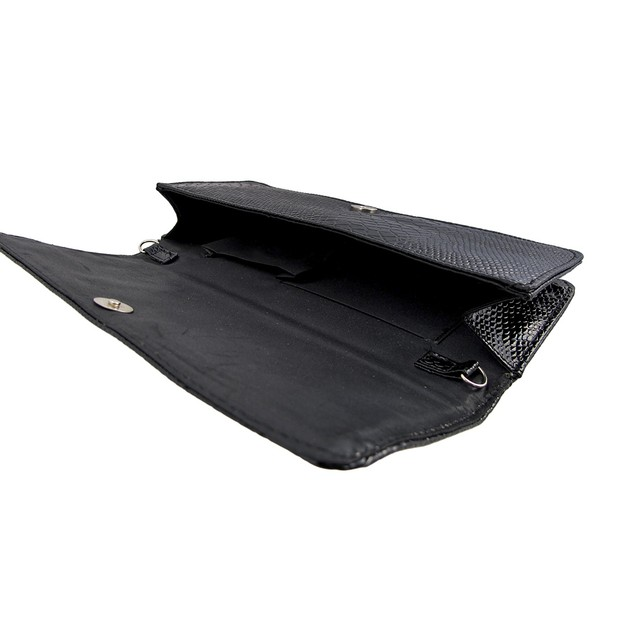 Glossy Black Textured Clutch Purse With Conical Womens Clutch Handbags