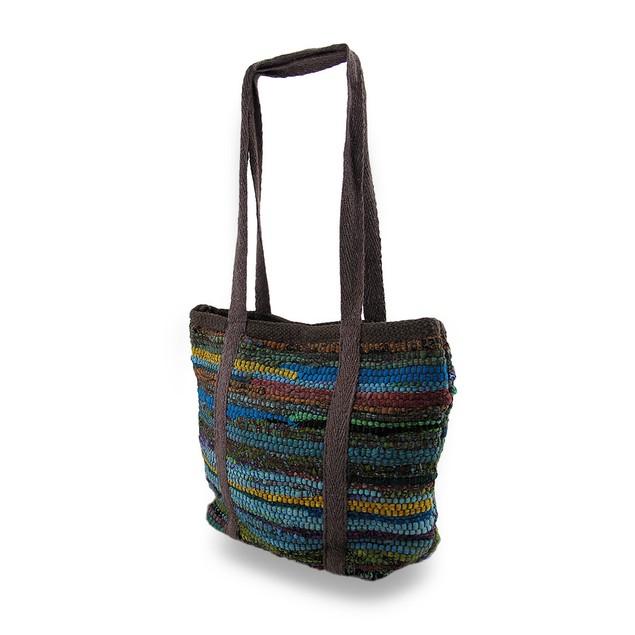 Chindi Tote Bag Multicolored Upcycled Shoulder Bag Womens Shoulder Handbags
