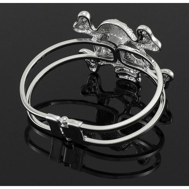 Rhinestone Skull And Crossbones Chrome Hinged Cuff Womens Cuff Bracelets