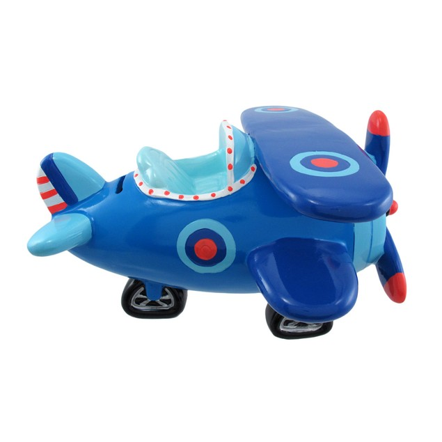 Jumbo Blue Bi-Plane Coin Bank Toy Banks