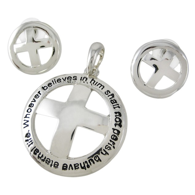 Religious Christian Cross Pendant Earring Set Womens Earring And Necklace