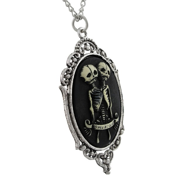 Two Headed Skeleton Cameo Necklace `Sempre Et Pendant Necklaces