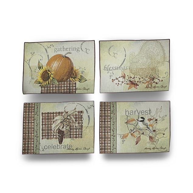 Four Autumn Themed Joyful Harvest Dining Table Place Mats