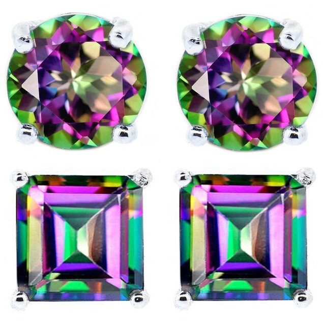 2 CTW Genuine Mystic Topaz Stud Earrings