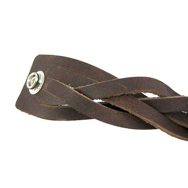 Thick Brown Leather Braided Wristband Bracelet Mens Leather Bracelets
