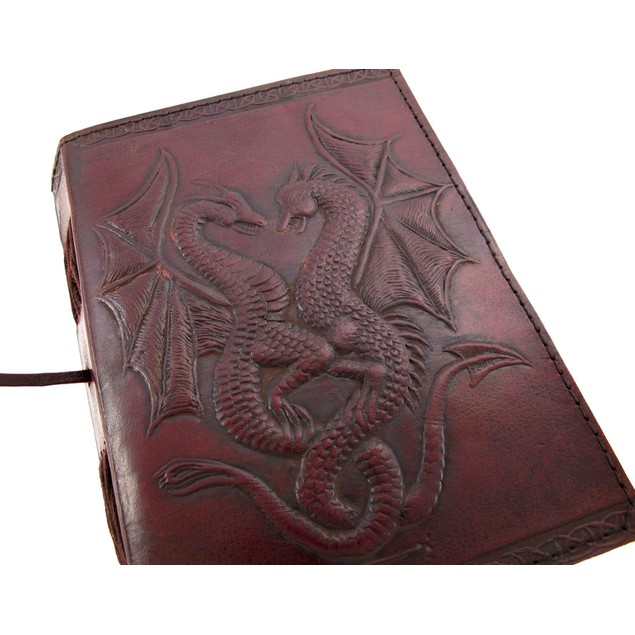 Embossed Leather Dual Dragons 120 Leaf Journal Art Sketchbooks And