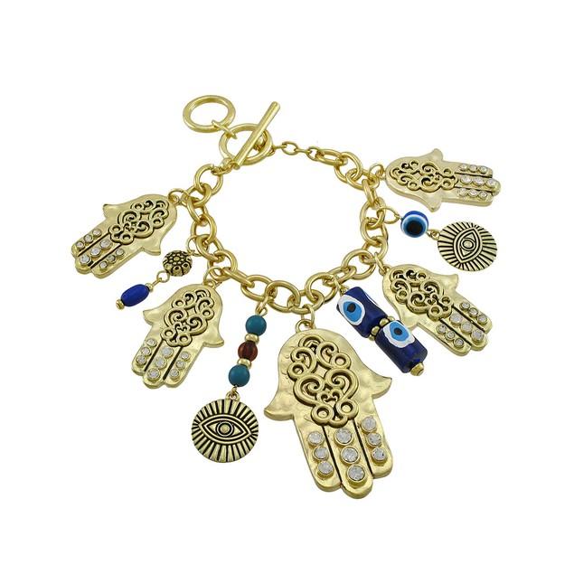 Gold Tone Hamsa Charm Bracelet With Toggle Clasp Womens Clasps Bracelets