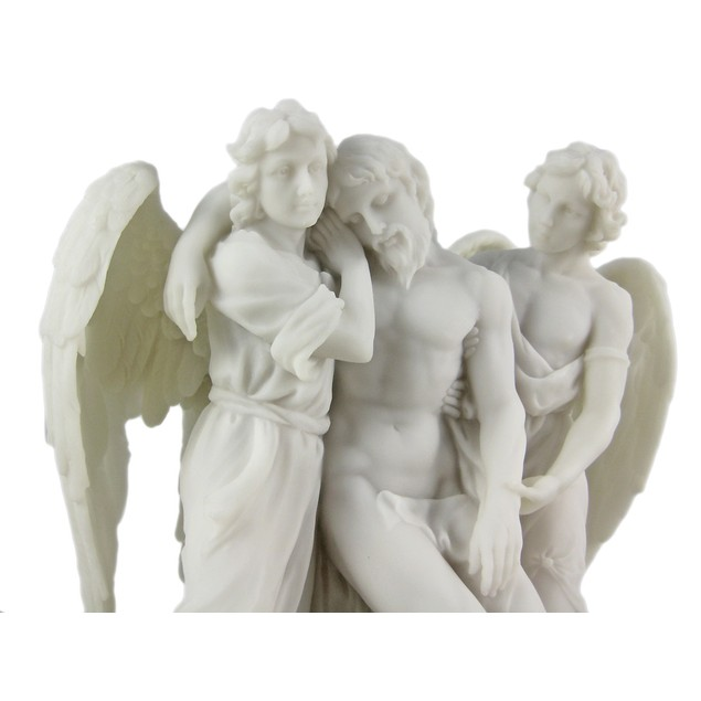 Dead Christ Supported By Angels Marble Look Statue Statues