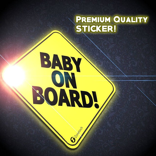 Zone Tech Baby on Board Car Vehicle Sticker Safe Warning Bumper Decal