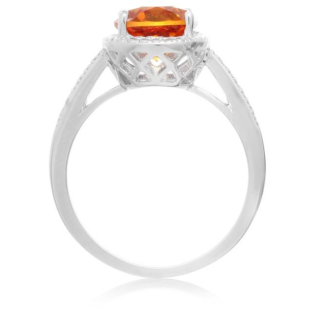 Created Padparadscha and Diamond Halo Ring