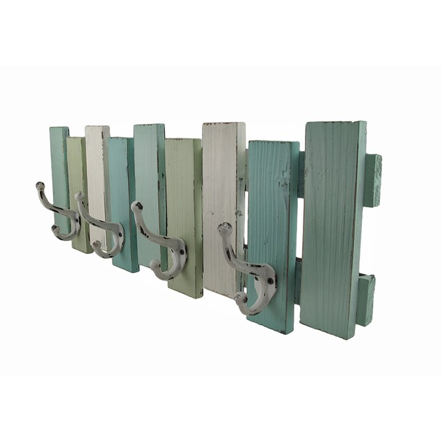 Blue, White And Green Distressed Finish Wooden Coat Hooks