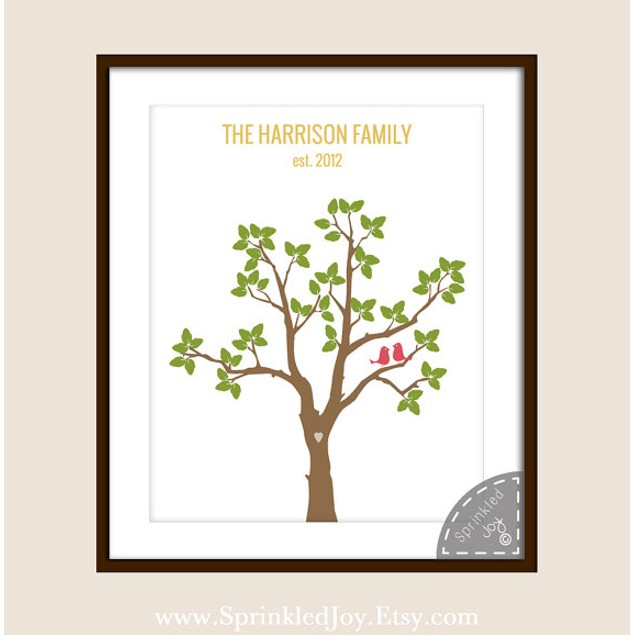 Love Birds in a Tree Personalized Print