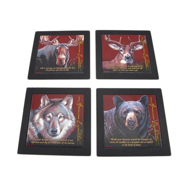 Set Of 4 Wildlife Wood Framed Ceramic Tile Trivets Trivets