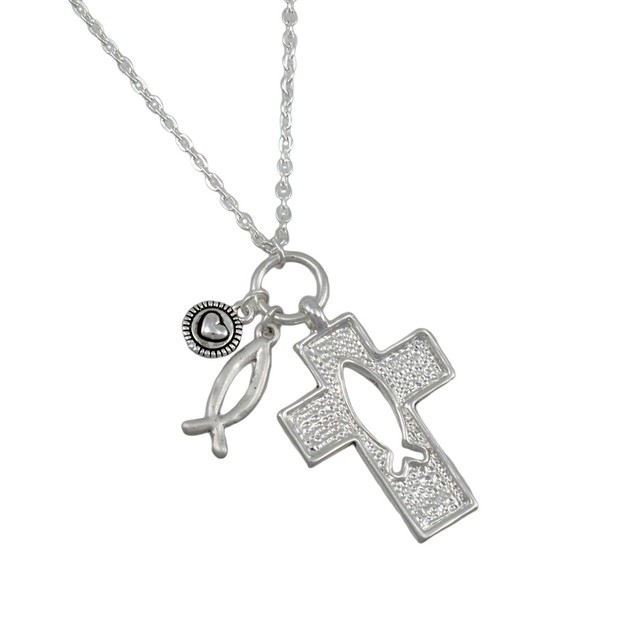 Silvertone Cross And Ichthys Necklace And Earring Womens Earring And