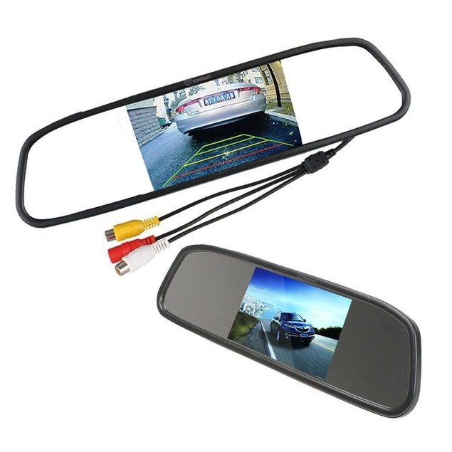 "Zone Tech 4.3"" TFT Car LCD Screen Rear Monitor View Rearview DVD AV Mirror"