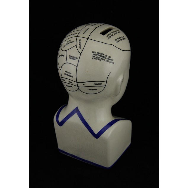 Off White Phrenology Head Porcelain Coin Bank Toy Banks