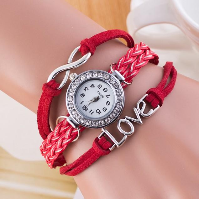 Womens Infinite Love Bangle Charm Bracelet Wrist Watch on Leather rope