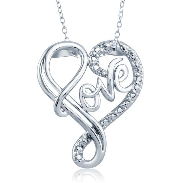 1/10cttw Diamond Accent Love Script Heart Necklace