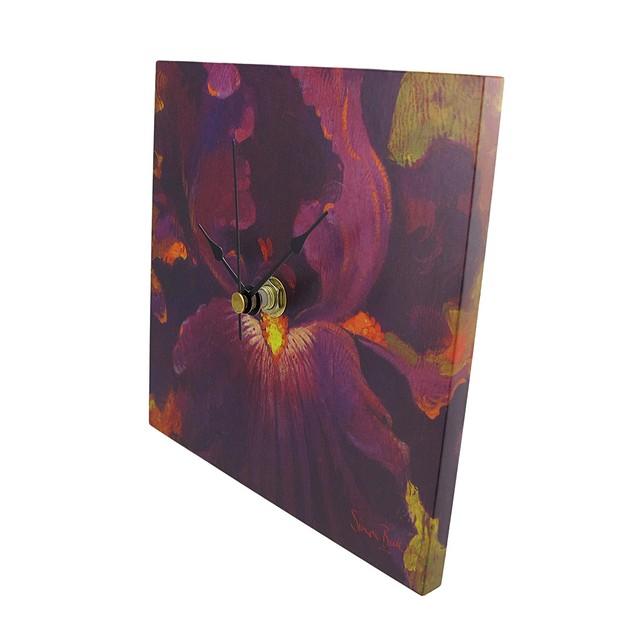 `Beautiful Dreamer` Purple Iris Square Tabletop Or Wall Clocks