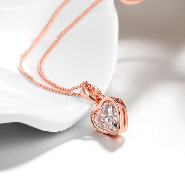 Rose Gold Plated Pure White Heart Necklace