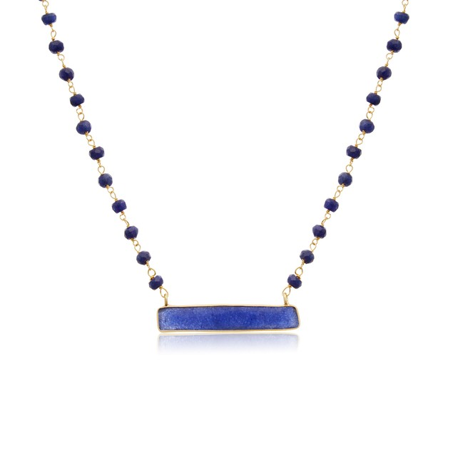 14k Gold 36ct Blue Sapphire Bar Necklace, 18""