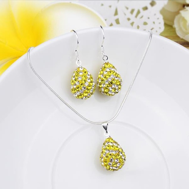 Austrian Stone Multi-Pave Pear Earring and Necklace Set - Yellow Sunshine