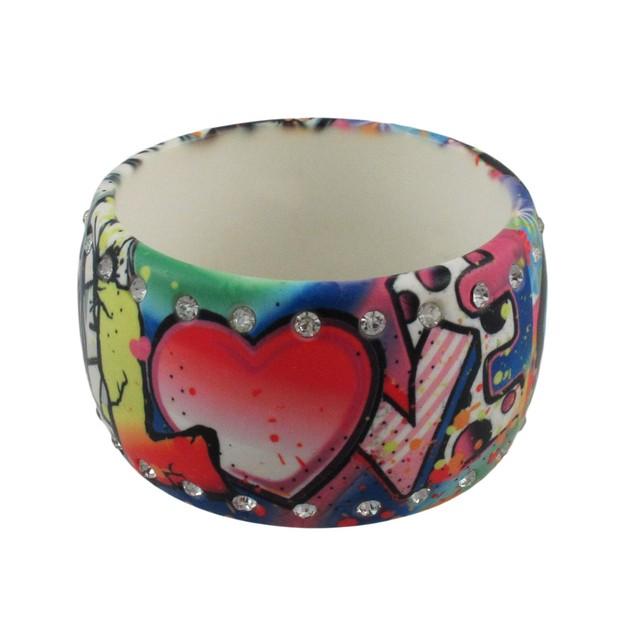 Rhinestone Graffiti Love Hope Faith Wide Bangle Womens Bangle Bracelets