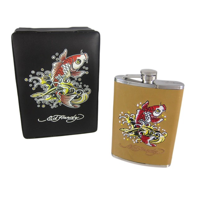Ed Hardy Koi Fish Embroidered Tan Leather 8 Oz. Alcohol And Spirits Flasks