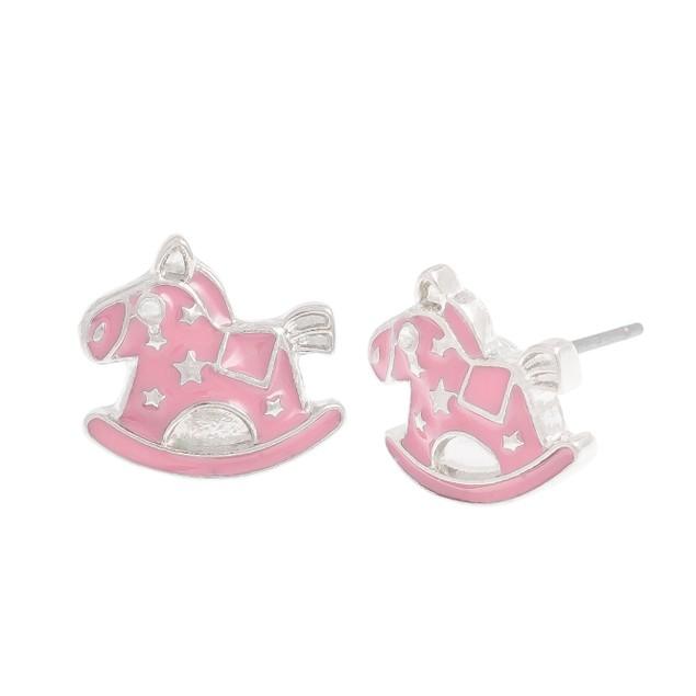 Pink Rocking Horse Stud Earrings