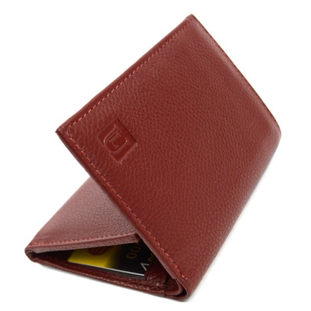 RFID Genuine Leather Tri-Fold Wallet