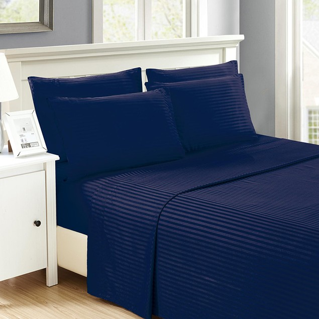 6 Piece Luxurious Embossed Dobby-Stripe Sheet Set w/ Additional Pillowcases