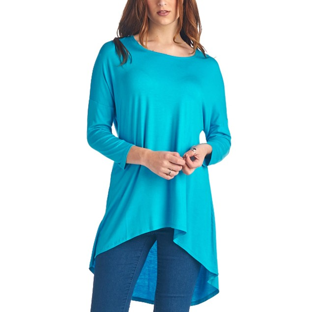 Ladies Rayon Spandex High & Low Tunic with 3/4 Sleeves