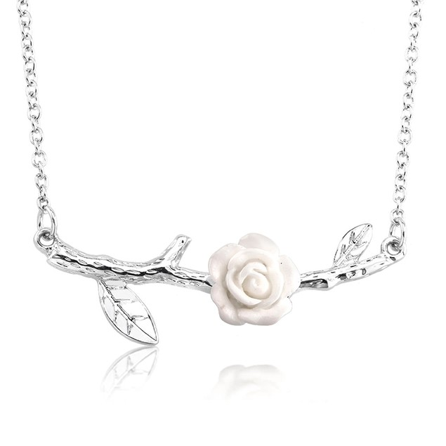 18kt White Gold Rose Sideways Necklace