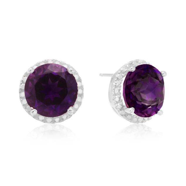 7 Ct Amethyst Halo Stud Earrings In Sterling Silver