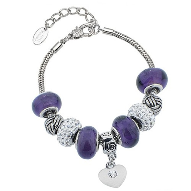 Heart Charmed Murano Bracelet Made with Swarovski Elements
