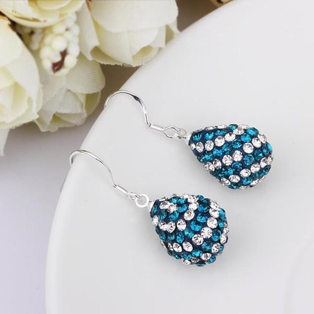 Austrian Stone Pear Shaped Drop Earrings - Blue