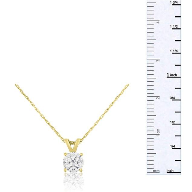 14k Yellow Gold 1/2 Carat Genuine Diamond Solitaire Necklace