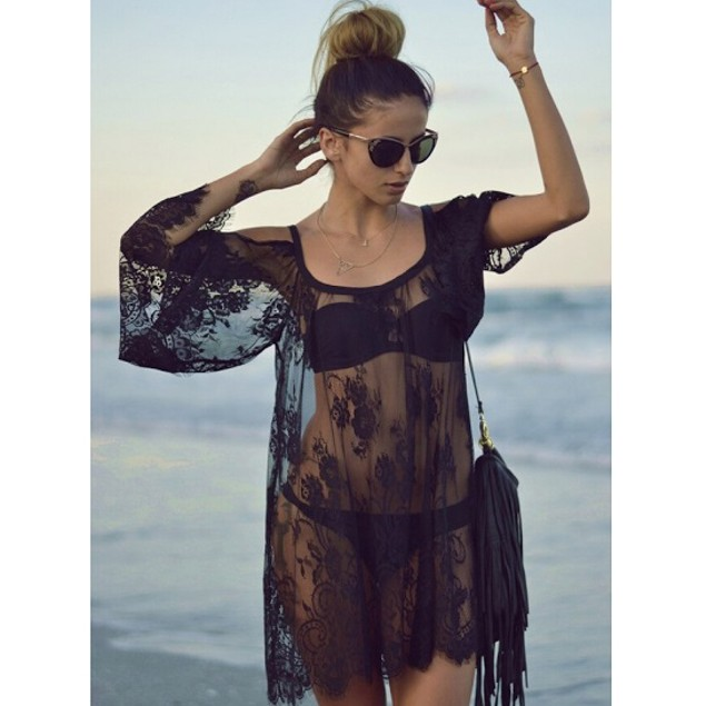 Long Sleeve Sexy Sheer Coverup