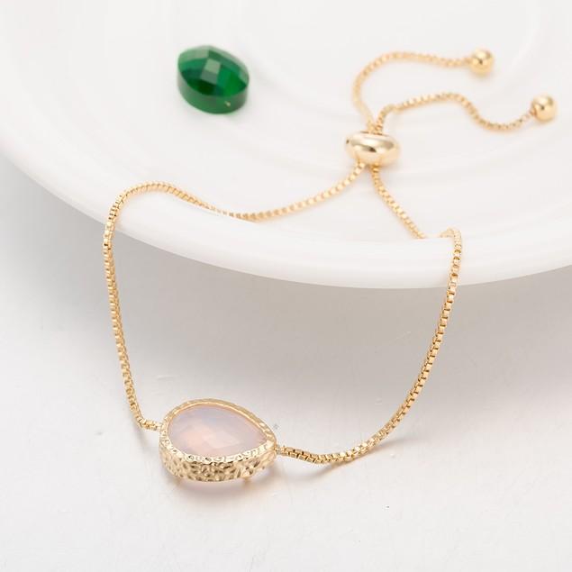Gold Plated Oval Light Coral Gem Bracelet