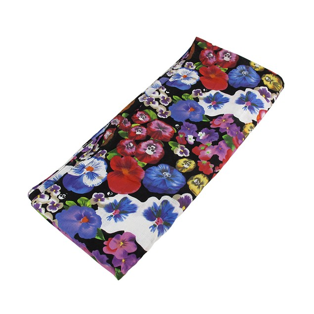 Floral Cotton Fashion Scarf With Skulls Womens Fashion Scarves