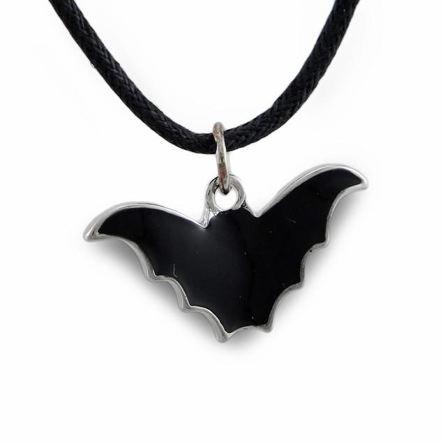 Black Enamel Bat Pendant On Adjustable Slider Cord Mens Pendant Necklaces