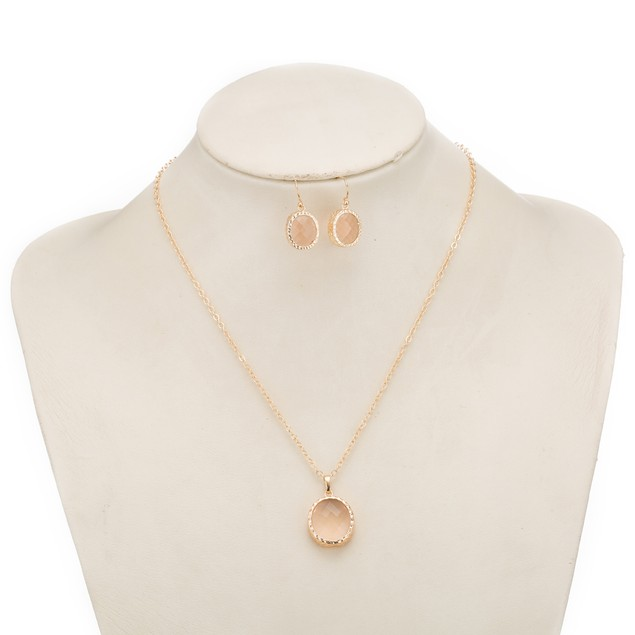 Gold Plated Onyx Jewels Necklace & Earrings Set