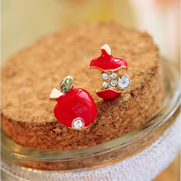 Bright Red Apple Huggie Earrings