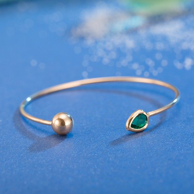 Gold Plated Emerald Gem Open Ended Bangle