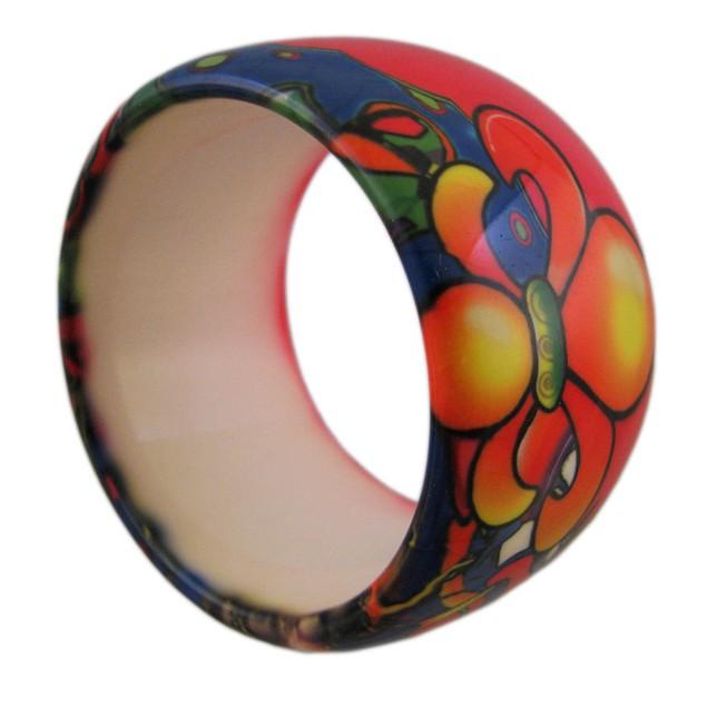 1 3/4 Inch Wide Tattoo Fleur De Lis Bangle Womens Bangle Bracelets
