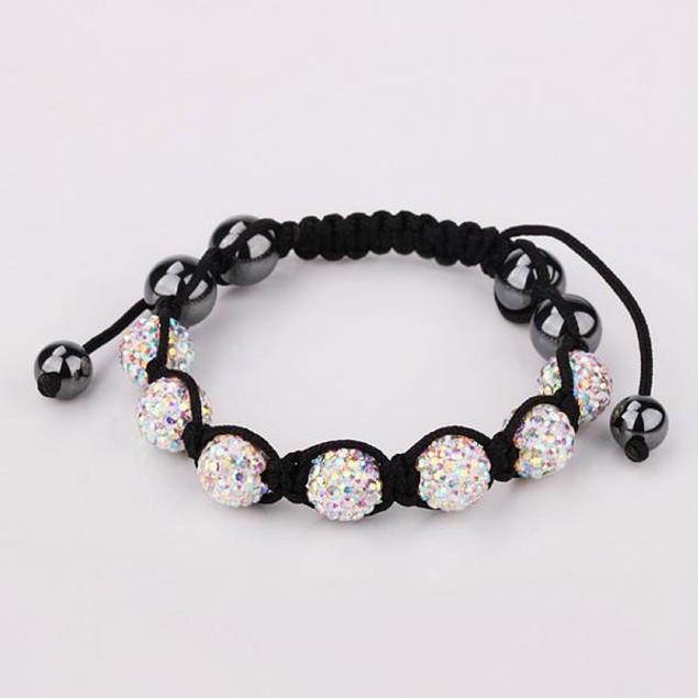 80's Glam Six Beads Austrian Crystal Bracelet - Rainbow