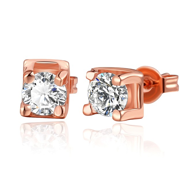 Rose Gold Plated Earrings with Austrian Crystal