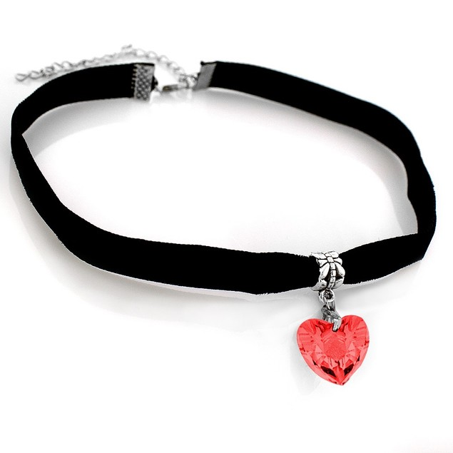 Velvet Choker with Heart Charm - Red